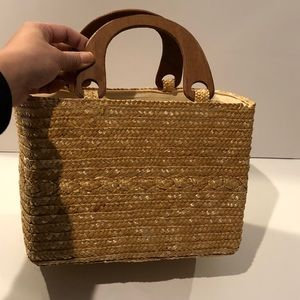 Handbags - Straw woven bag with wooden handles